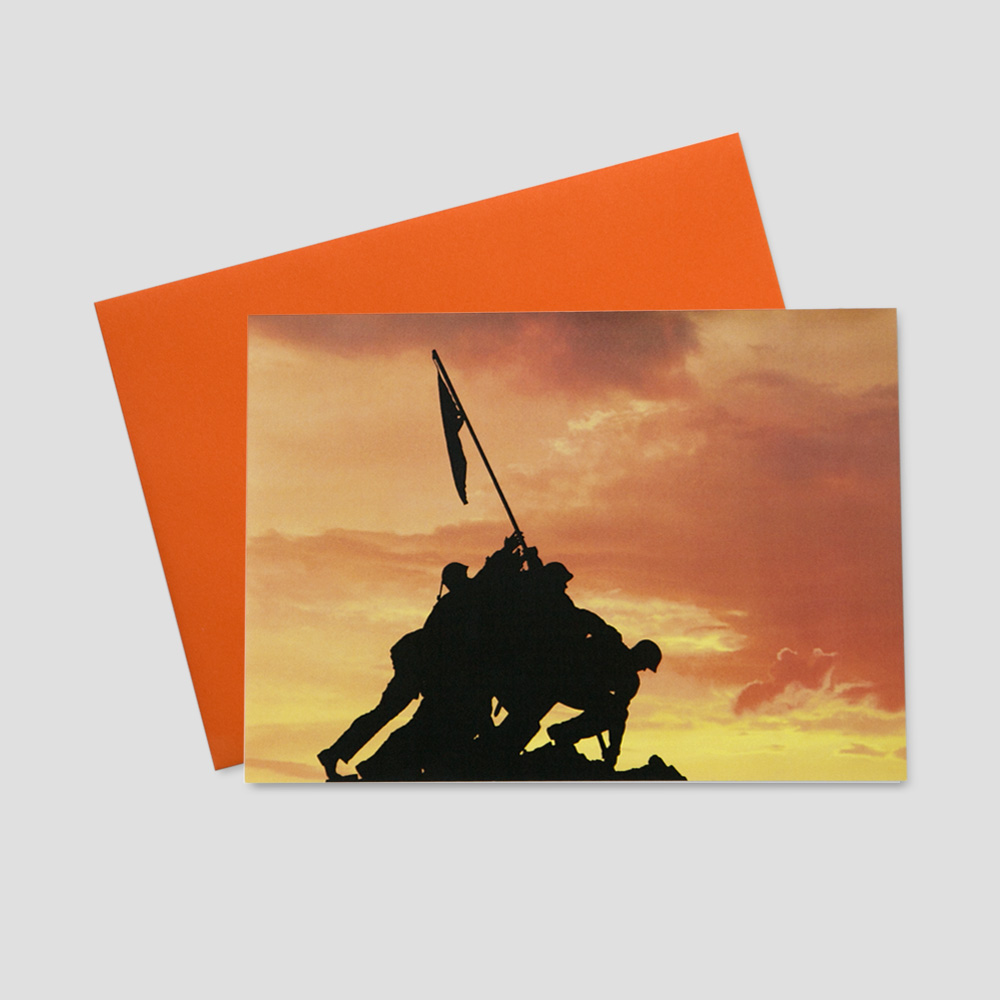 Professional Patriotic greeting card featuring a scene of the famous Iwo Jima monument at sunset