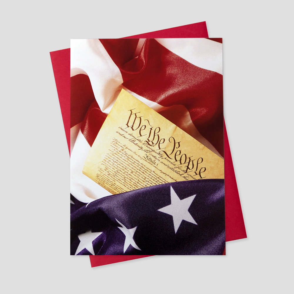 Professional Patriotic greeting card with an image of the Declaration of Independence surrounded by the American Flag