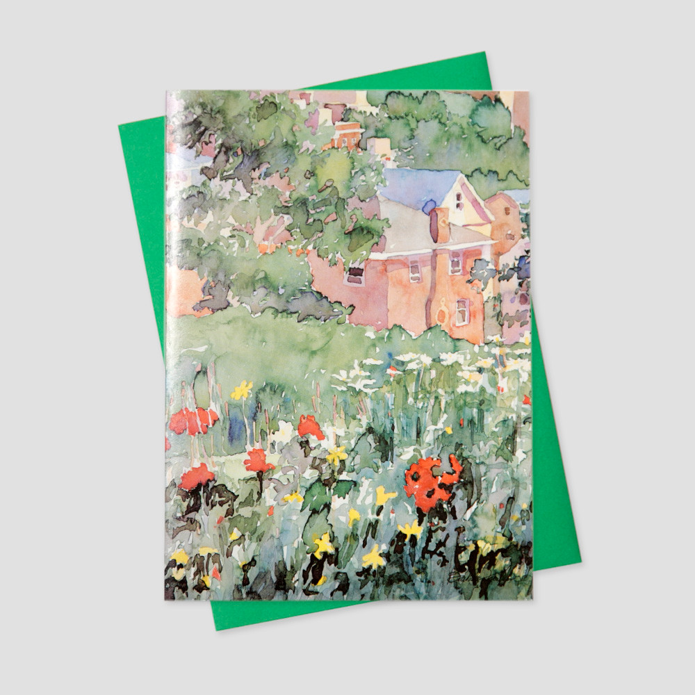 Professional Mortgage Broker greeting card featuring a watercolor image of a home surrounded by green fields and flowers