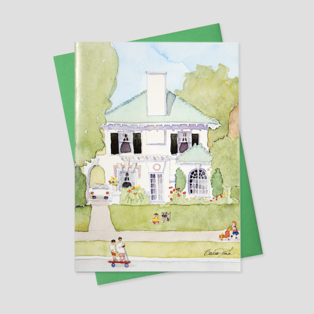 Business Realtor greeting card featuring a watercolor image of a home with children playing in the street