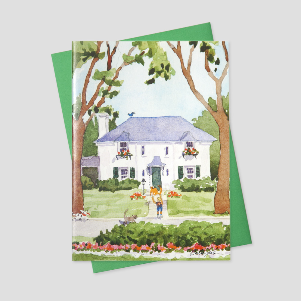 Business Mortgage Broker greeting card with a watercolor image in a landscape of beautiful greenery