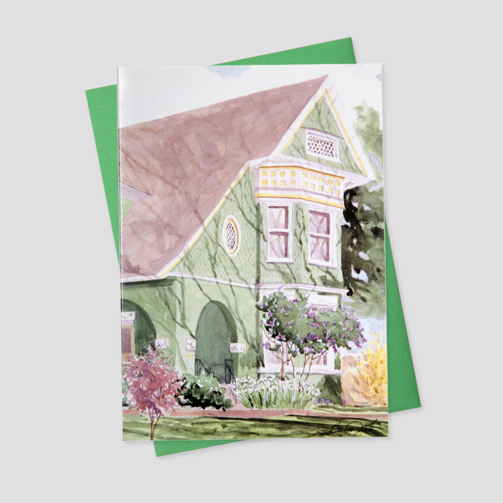 Mortgage Broker greeting card featuring a watercolor image of a pale green home surrounded by complementing florals