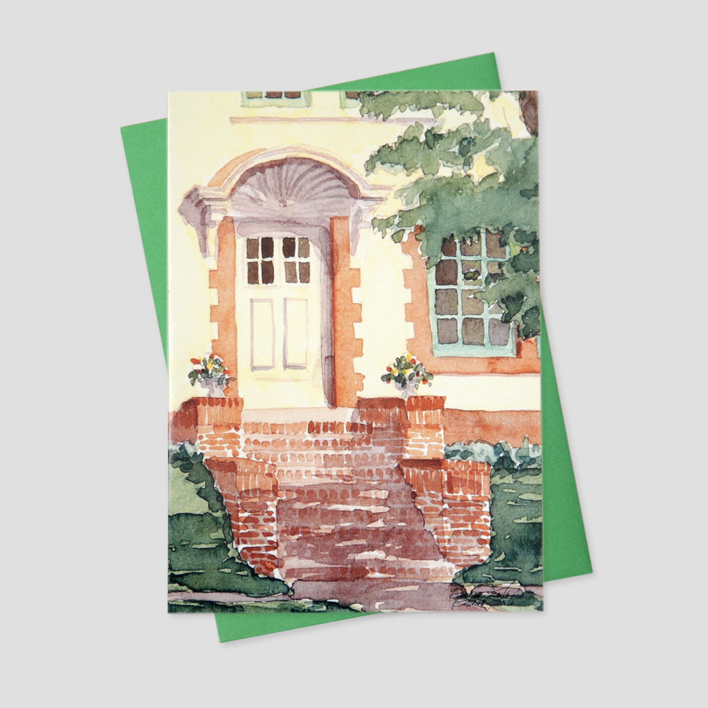 Client Mortgage Broker greeting card with a watercolor image of a pale yellow home and brick walkway