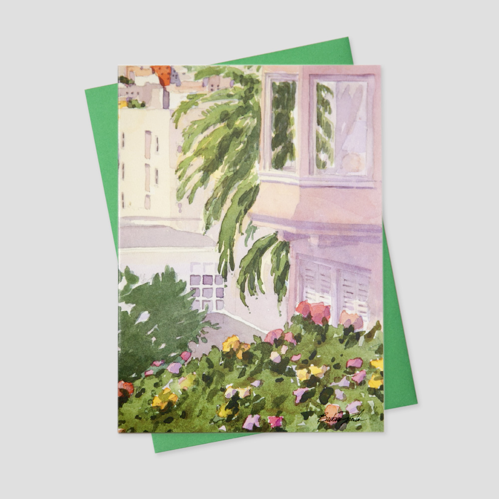 Corporate Realtor greeting card featuring a watercolor image of a home with surrounding greenery and flowers