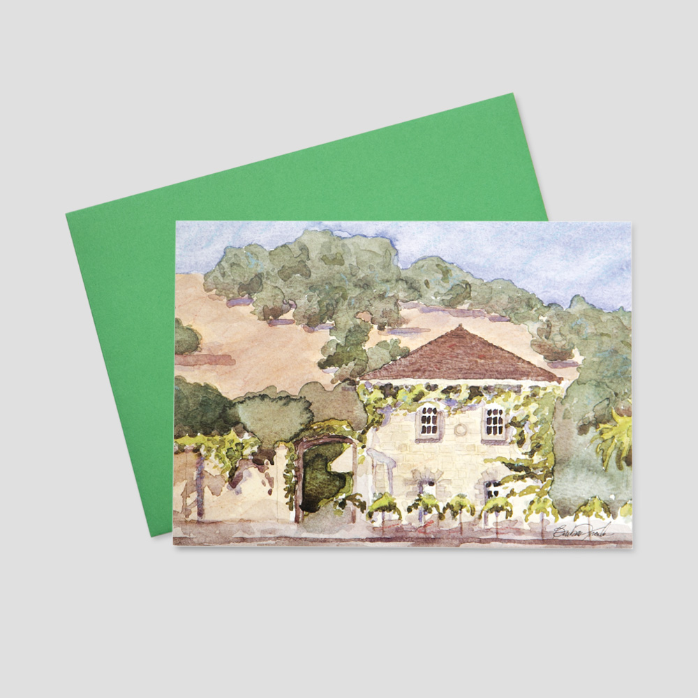 Customer Realtor greeting card featuring a watercolor image of a stone built home surrounded by a large hill and trees