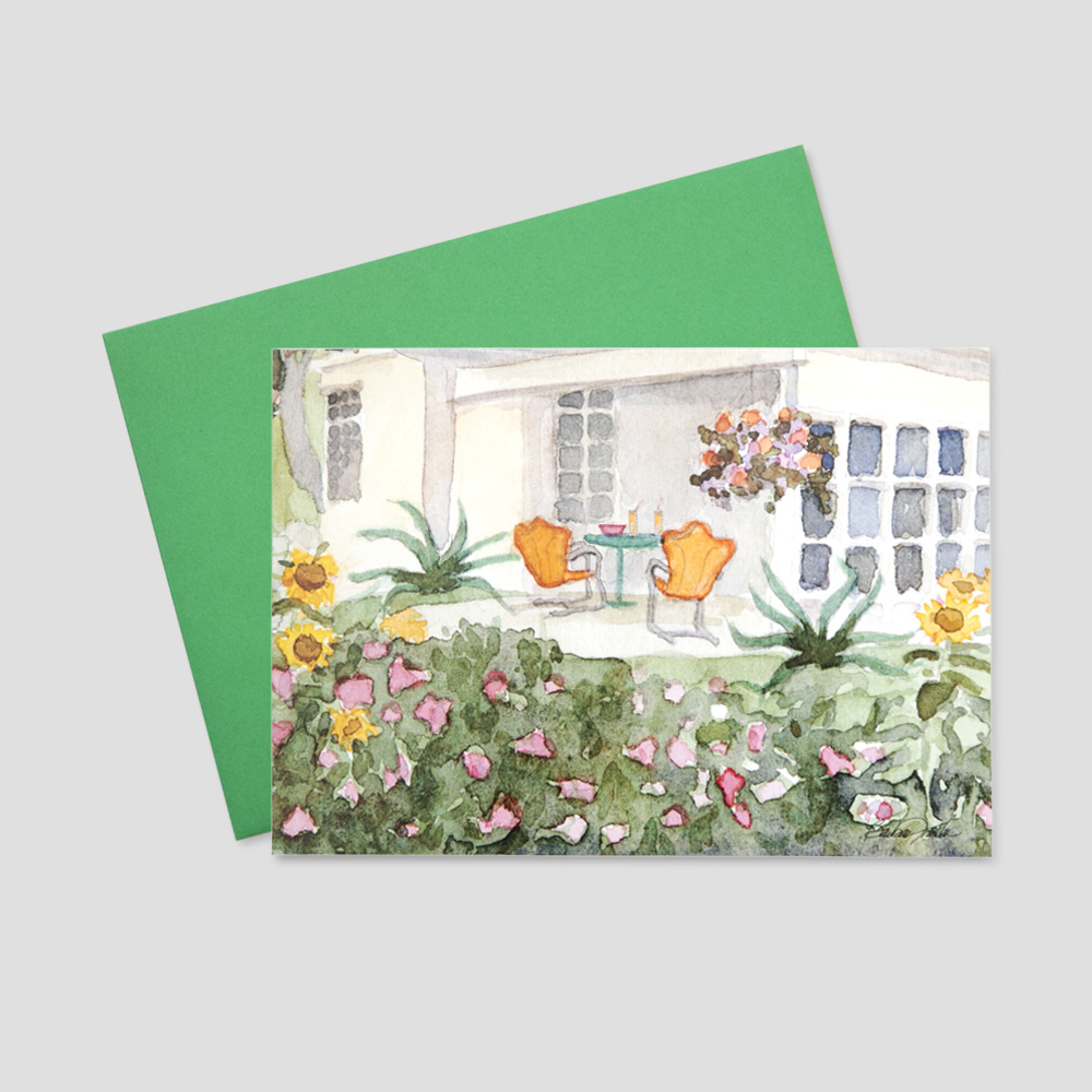 Customer Mortgage Broker greeting card with a watercolor view of a home's garden and outdoor patio