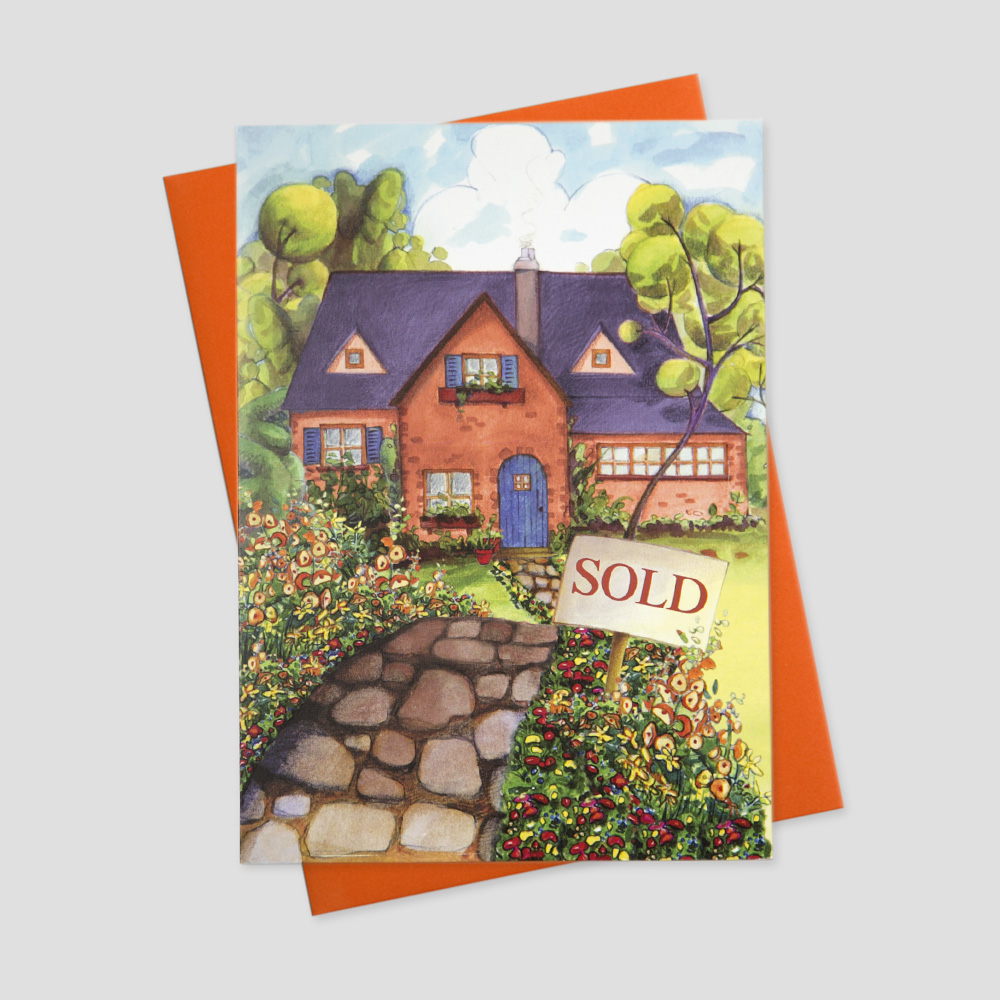 Professional Realtor greeting card featuring a watercolor  image of a home with a just sold sign in the front yard