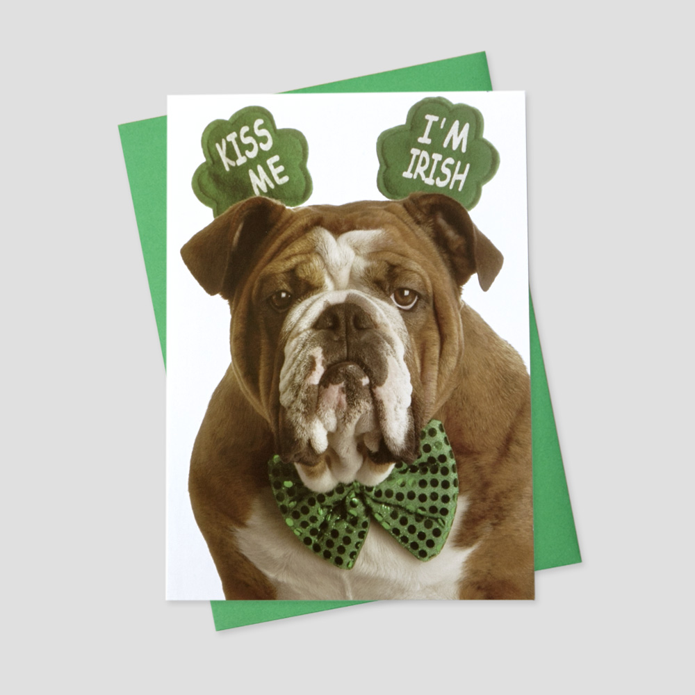 Business St. Patrick's Day greeting card featuring a funny bulldog wearing Irish-inspired attire