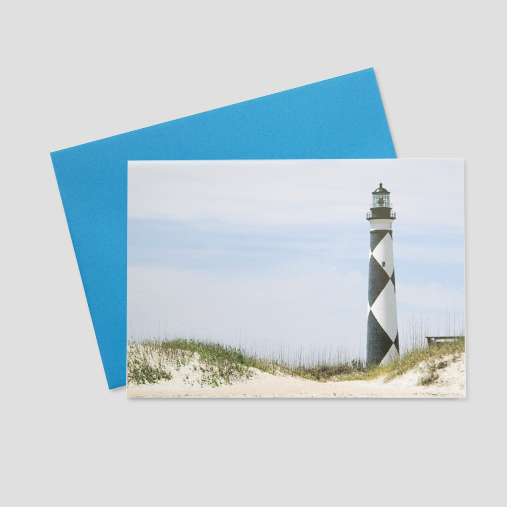 Summertime Business greeting card featuring the Cape Lookout lighthouse on a bright sunny day