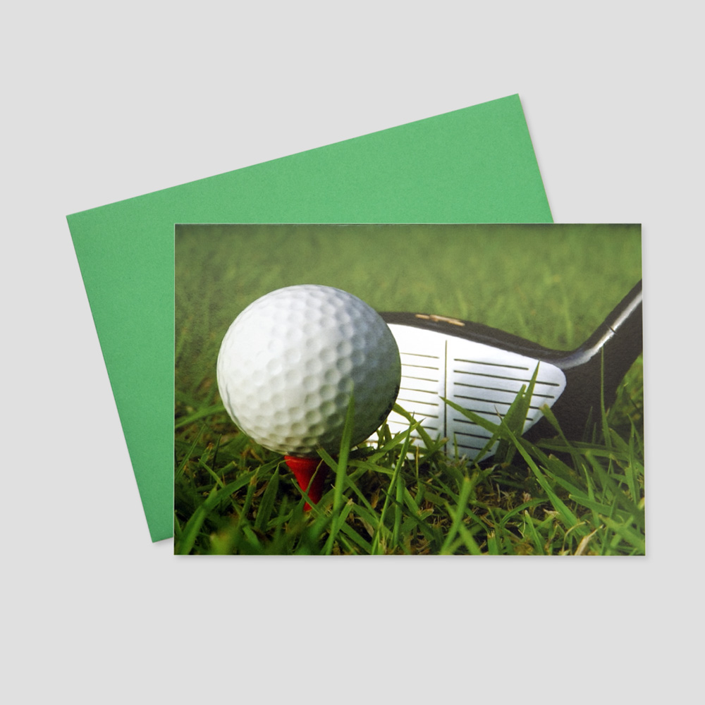 Customer Summertime greeting card featuring a new golf ball perched next to a tee on a golf green
