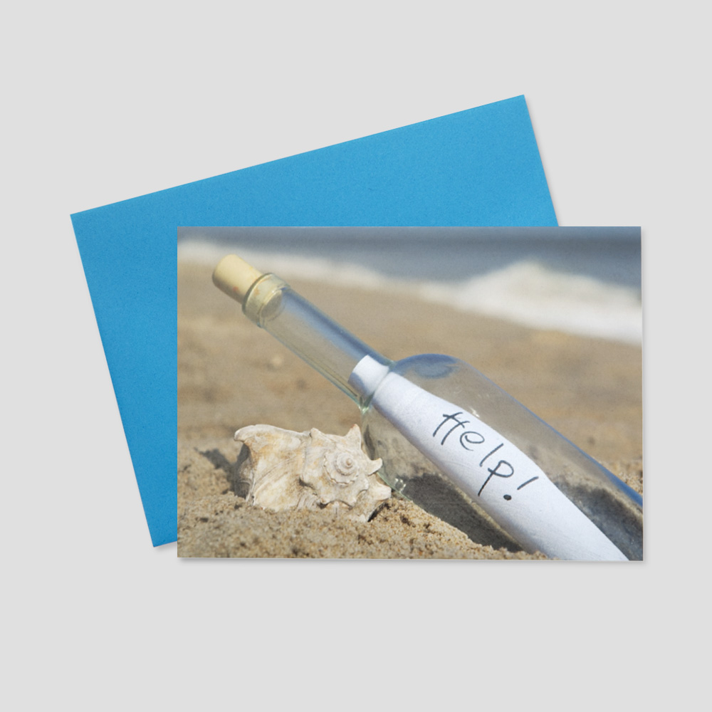 Client Summertime greeting card with a message in a glass bottle sitting on a sandy beach