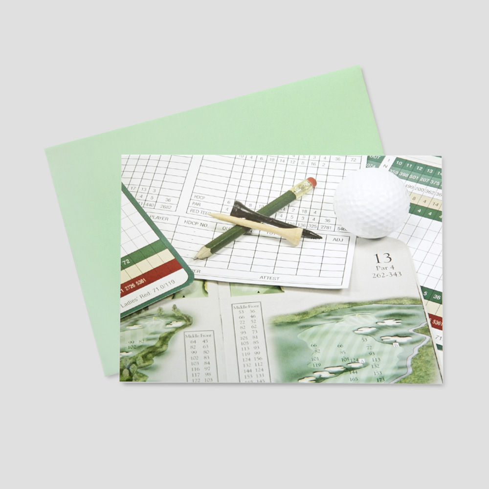 Client Summertime greeting card featuring a golf score card, a golf ball, and a golf tee