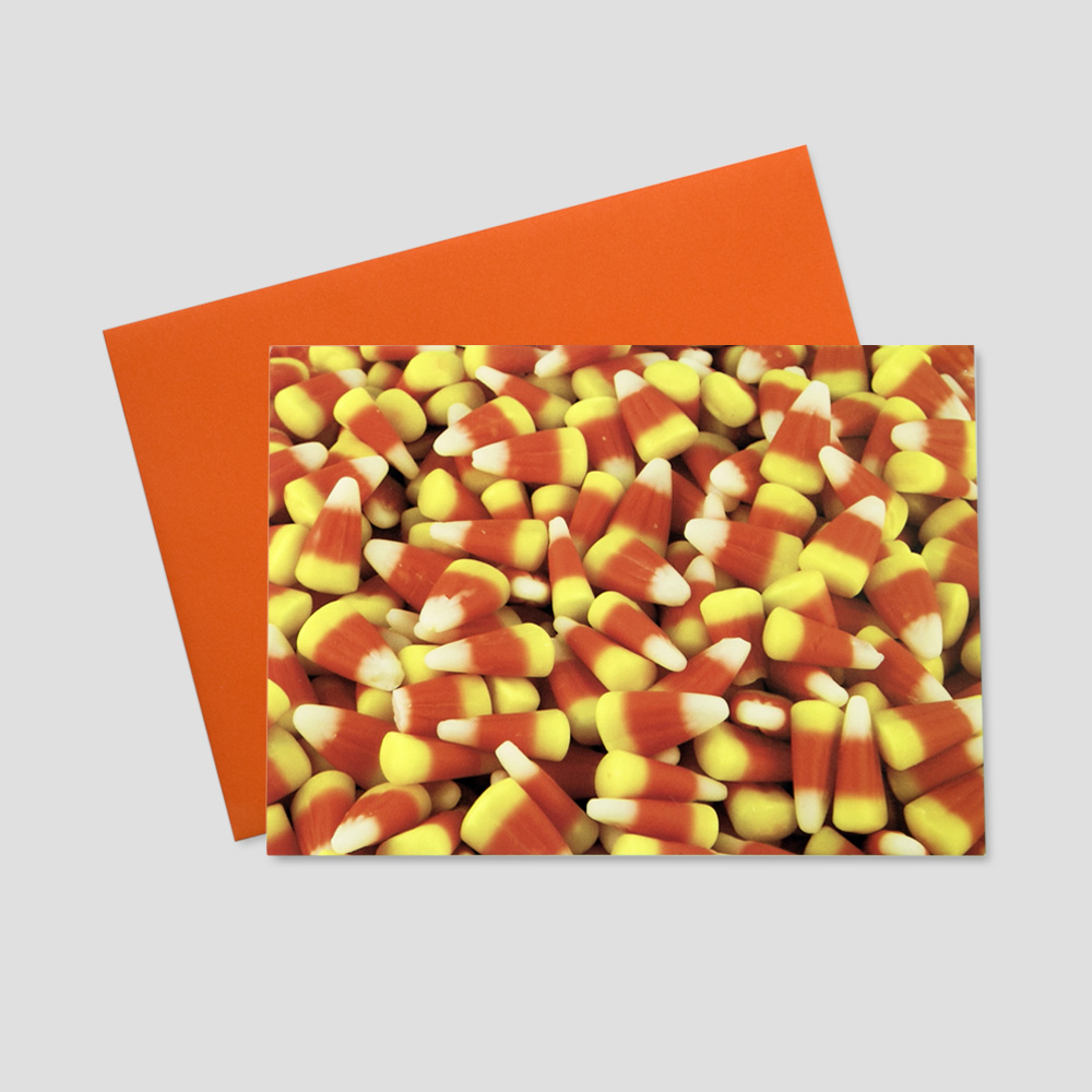 Employee Thanksgiving greeting card featuring an image of falls yummy treat - candy corn