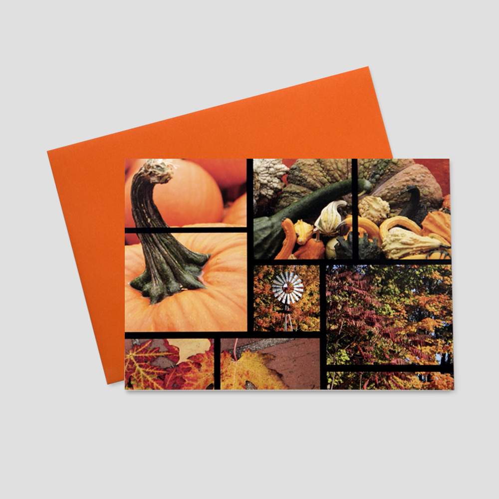 Work Thanksgiving greeting card with multiple images of fall elements and themes including pumpkins and leaves