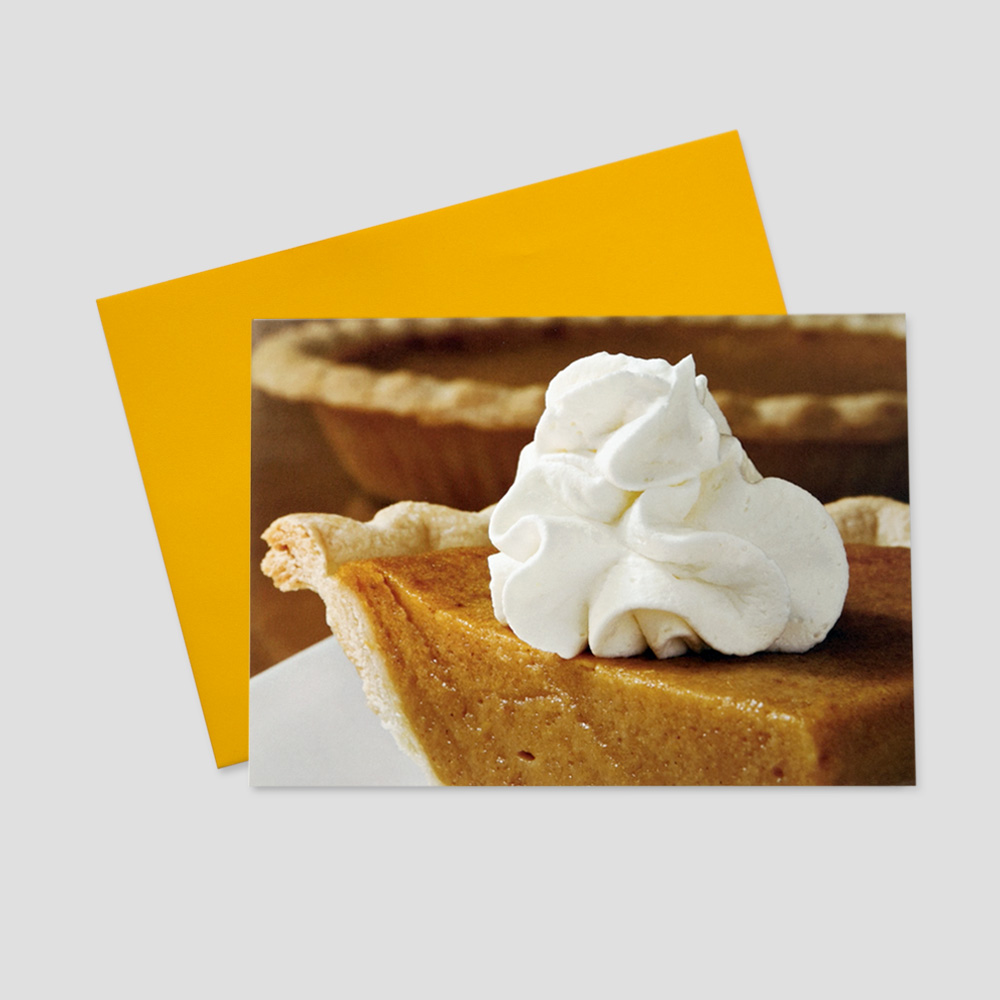 Employee Thanksgiving greeting card featuring a large image of a slice of delicious pumpkin pie