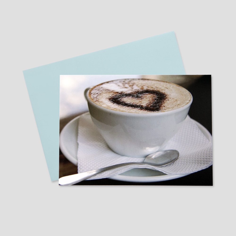 Business Valentine's Day greeting card featuring an image of a cup of espresso and cinnamon in the espresso in the shape of a heart