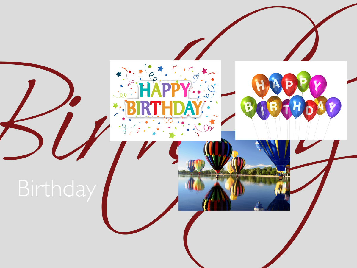Birthday greeting card banner featuring three top-selling birthday cards