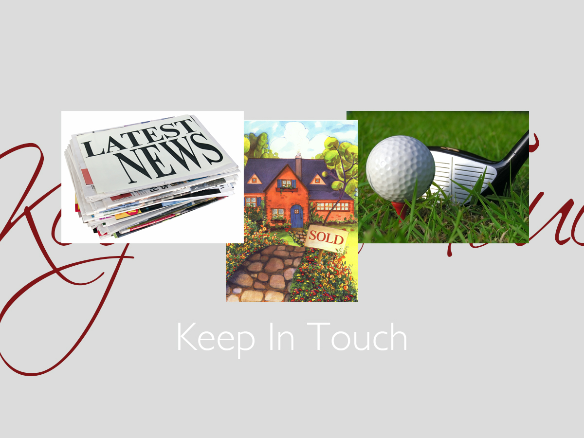 Keep In Touch greeting card banner featuring three top-selling keep in touch cards