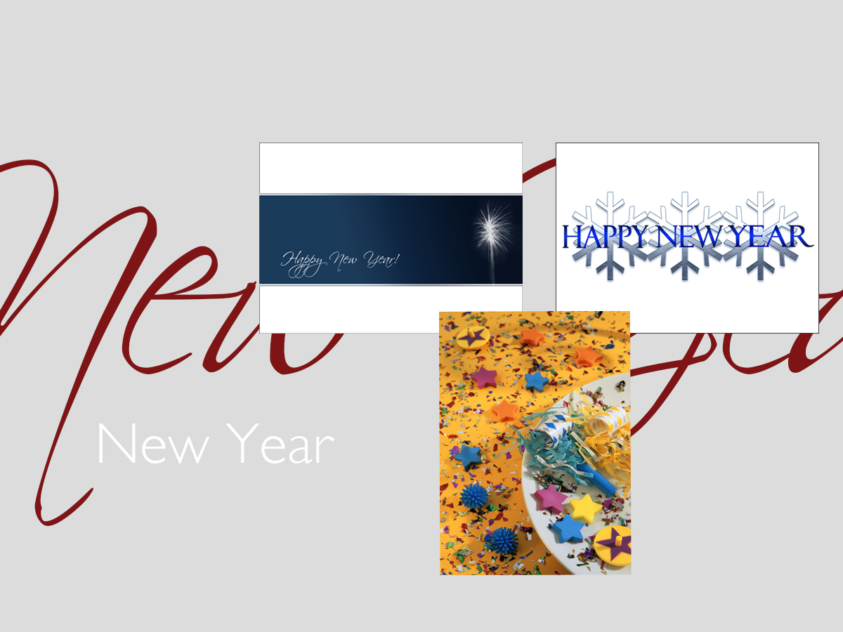 New Year greeting card banner featuring three top-selling New Year cards