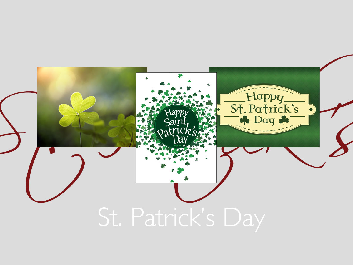 St. Patrick's banner featuring three top-selling St. Patrick's greeting cards