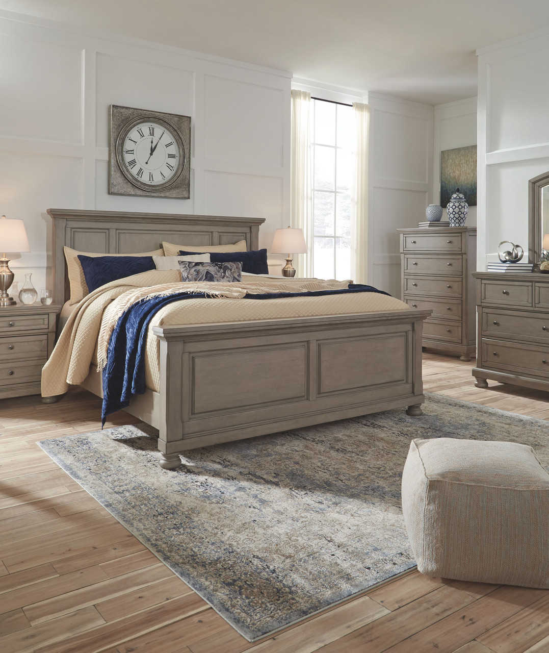 The Lettner Light Gray 7 Pc Dresser Mirror King Panel Bed 2 Nightstands Available At Royal Star Furniture Serving St Paul Mn