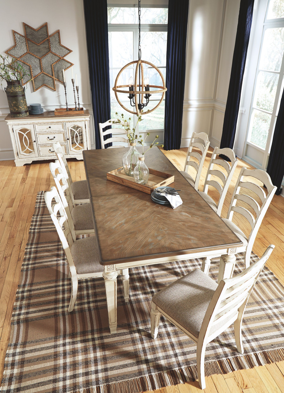 The Realyn Chipped White 10 Pc Rectangular Extension Table 8 Uph Side Chairs Server Available At Royal Star Furniture Serving St Paul Mn