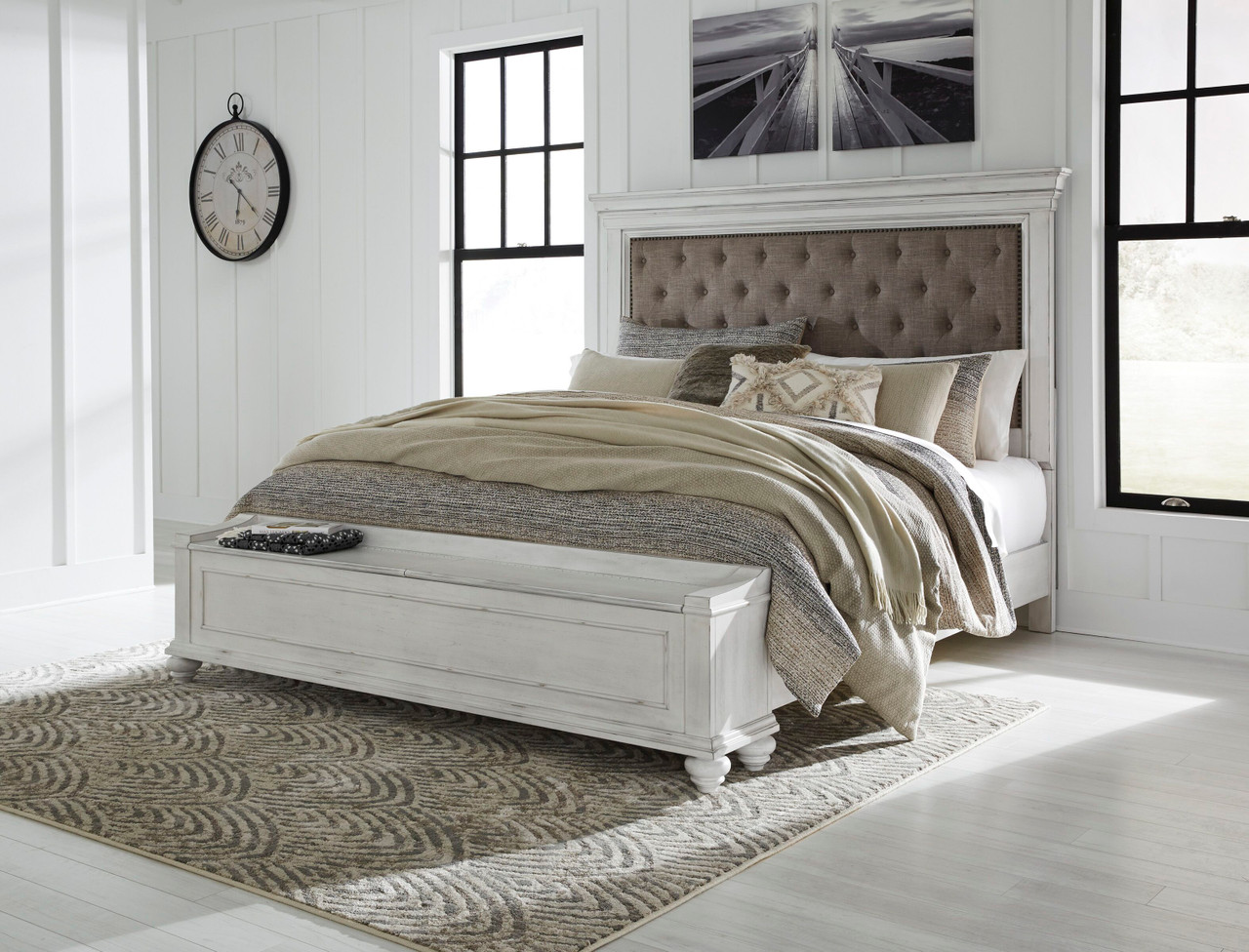The Kanwyn Whitewash King Upholstered Storage Bed Available At Royal Star Furniture Serving St Paul Mn