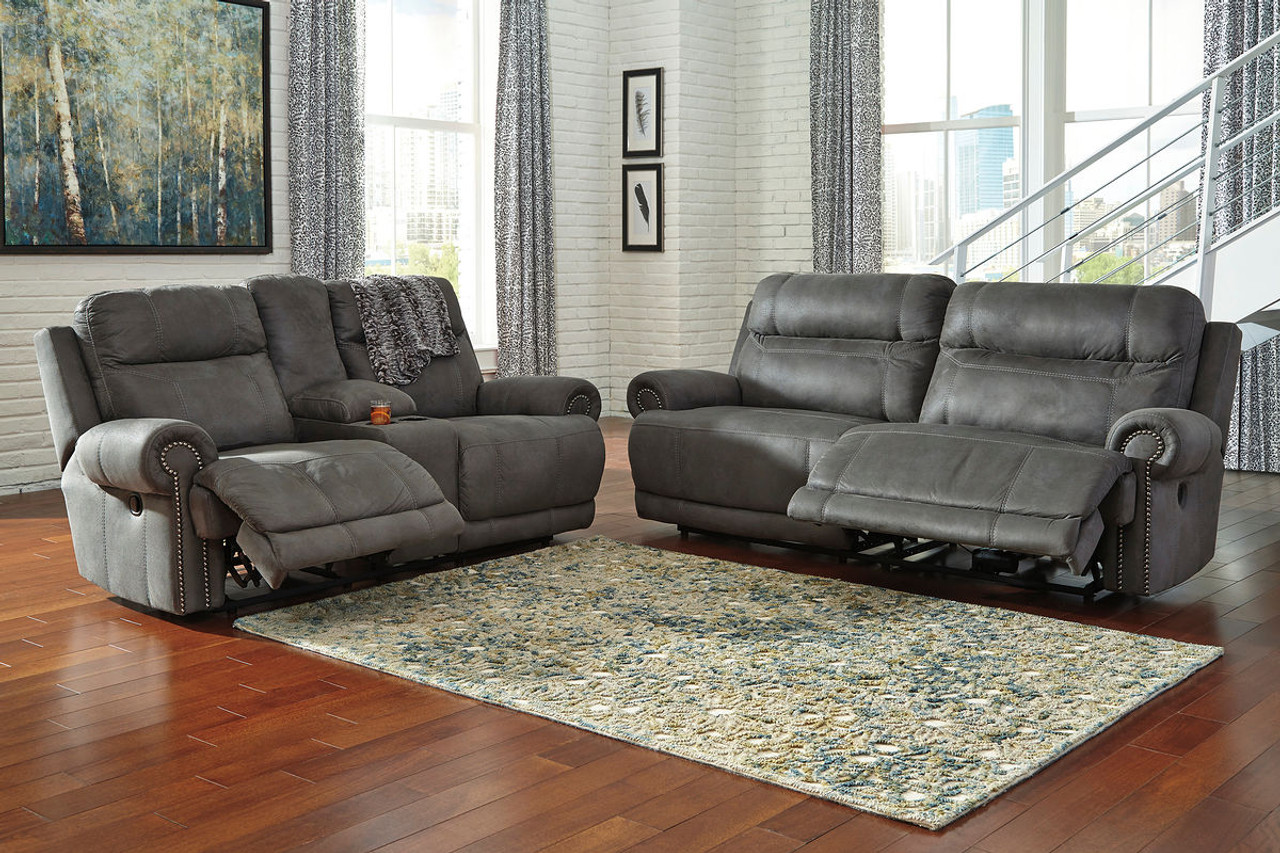 The Austere Gray Reclining Sofa Loveseat Set Available At Royal