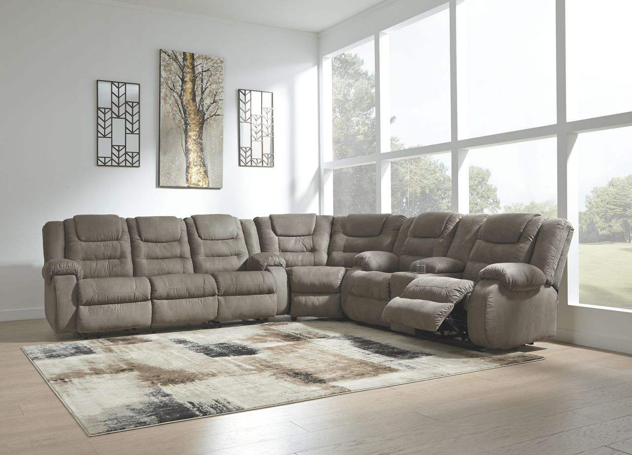 Segburg Cobblestone Reclining Sofa, Wedge & Double Reclining Loveseat with  Console Sectional