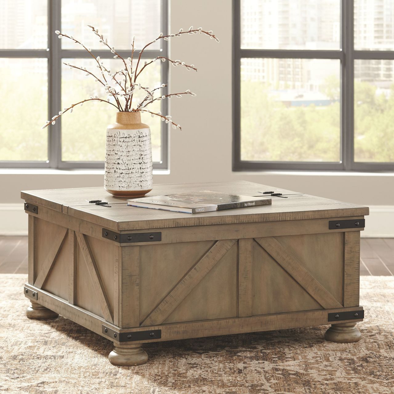 The Aldwin Gray Cocktail Table With Storage Available At Royal Star Furniture Serving St Paul Mn