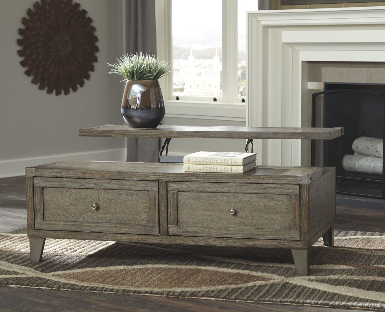 The Chazney Rustic Brown Lift Top Cocktail Table Available At