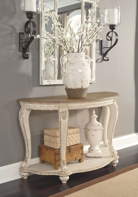 Realyn White/Brown Sofa Table