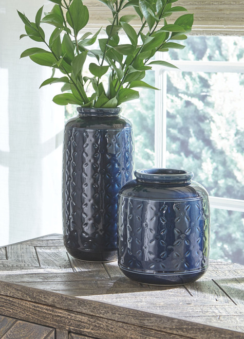 Marenda Navy Blue Vase Set (2/CN)