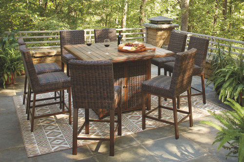 Paradise Trail Medium Brown Fire Pit Table & 8 Barstools