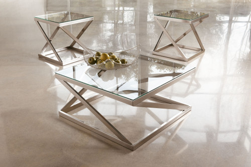Coylin Brushed Nickel Finish Square Cocktail Table & 2 Square End Tables