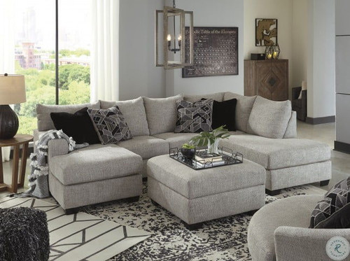 Megginson Storm LAF Sofa Chaise, RAF Corner Chaise Sectional, Round Swivel Chair & Ottoman With Storage