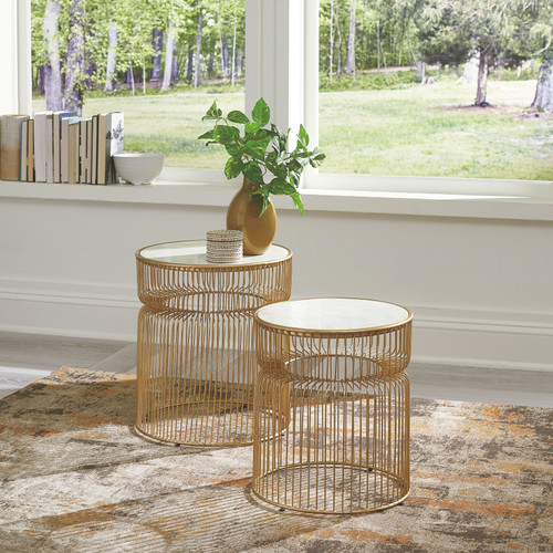 Vernway White/Gold Finish Accent Table Set (2/CN)