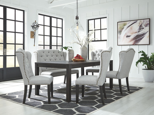 Jeanette Black 6 Pc. Rectangular  Table, 4 Upholstered Side Chairs & Upholstered Bench