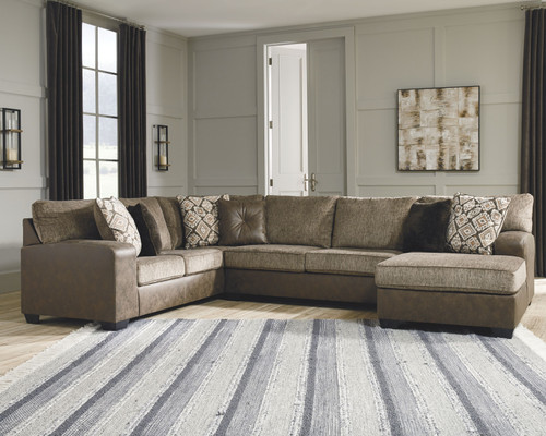 Abalone Chocolate LAF Sofa, Armless Loveseat & RAF Corner Chaise Sectional