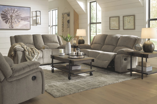Draycoll Pewter Reclining Sofa, Double Reclining Loveseat with Console & Rocker Recliner
