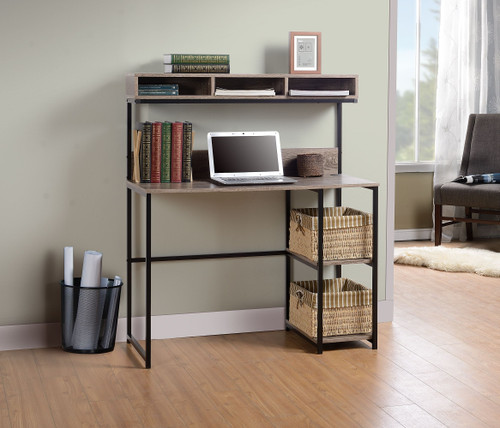 Daylicrew Grayish Brown/Gunmetal Home Office Desk and Hutch