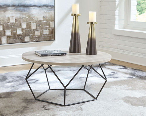 Waylowe Light Brown/Black Round Cocktail Table