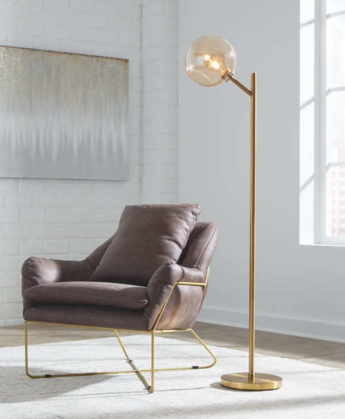 Abanson Amber/Gold Finish Metal Floor Lamp (1/CN)