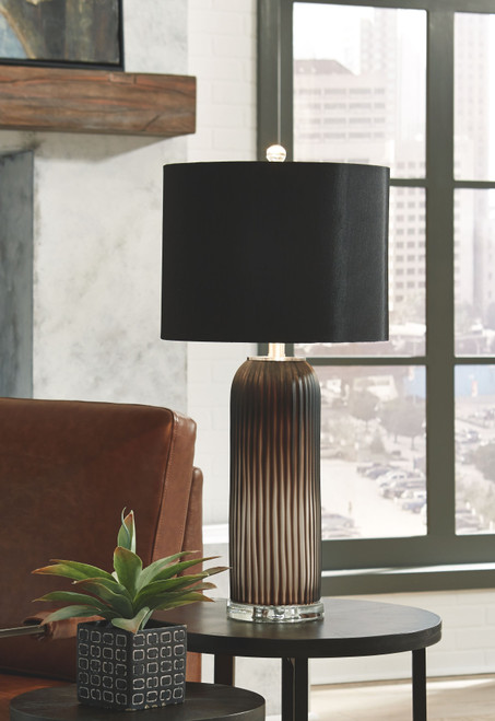 Abaness Black Glass Table Lamp (Set of 2)