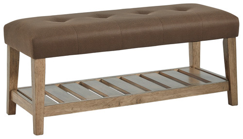 Cabellero Brown Upholstered Accent Bench