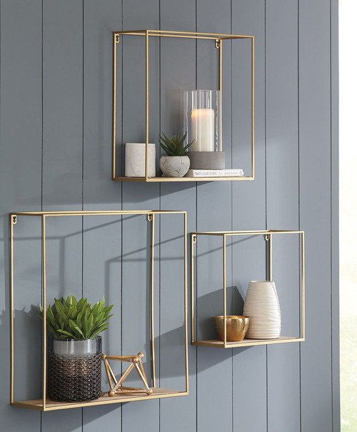 Efharis Natural/Gold Finish Wall Shelf Set (3/CN)