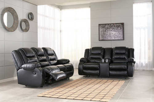 Vacherie Black Reclining Sofa & DBL Reclining Loveseat with Console