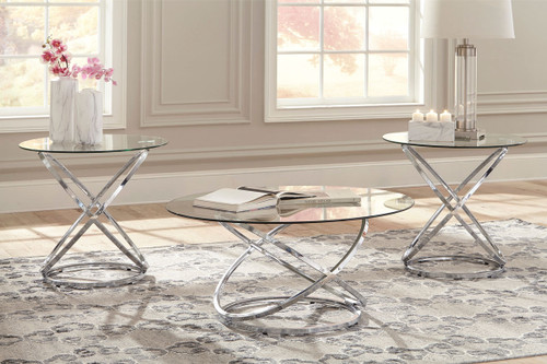 Hollynyx Chrome Finish Occasional Table Set