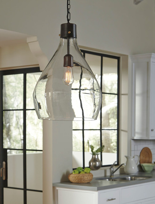 Avalbane Clear/Gray Glass Pendant Light (1/CN)