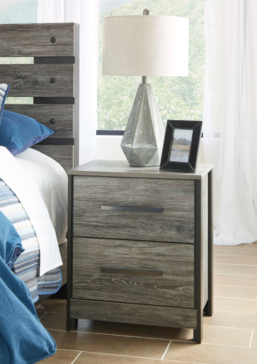 The Cazenfeld Black Gray Two Drawer Night Stand Available At Royal Star Furniture Serving St Paul Mn